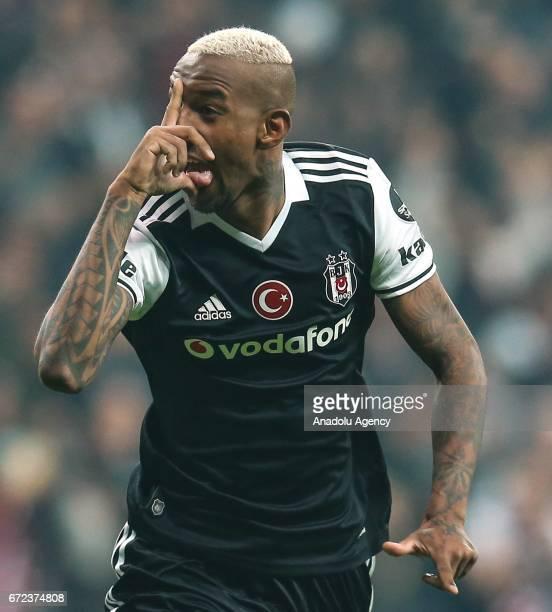 Talisca of Besiktas celebrates after scoring a goal during the Turkish Spor Toto Super Lig football match between Besiktas and Adanaspor at Vodafone...