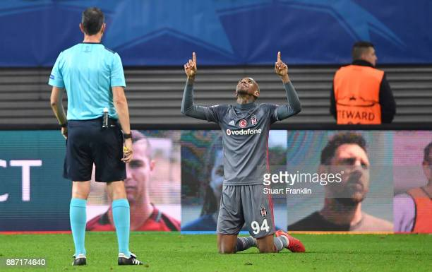 Talisca of Besiktas celebrates scoring the 2nd Besiktas goal during the UEFA Champions League group G match between RB Leipzig and Besiktas at Red...
