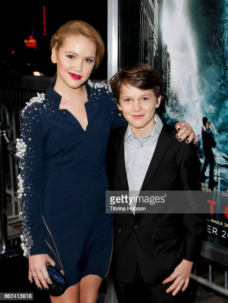 Talitha Bateman and Gabriel Bateman attend the premiere of Warner Bros Pictures 'Geostorm' at TCL Chinese Theatre on October 16 2017 in Hollywood...