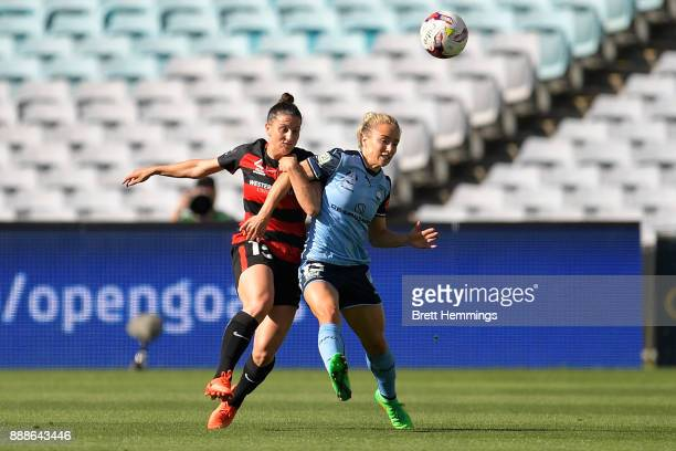 Talitha Kramer of the Wanderers and Georgia YeomanDale of Sydney contest the ball during the WLeague match between the Western Sydney Wanderers and...