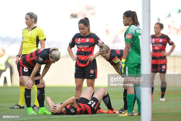 Talitha Kramer of the Wanderers lays on the field injured during the WLeague match between the Western Sydney Wanderers and Sydney FC at ANZ Stadium...