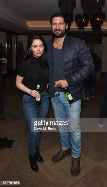 Talitha Stone and Kayvan Novak attend a gala screening of 'Mindhorn' at the May Fair Hotel on April 20 2017 in London England