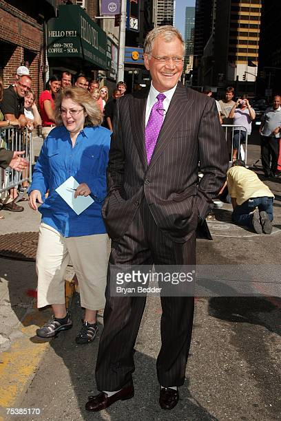 Talk show host David Letterman appears outside of the Ed Sullivan Theater during a taping of the Late Show with David Letterman July 12 2007 in New...