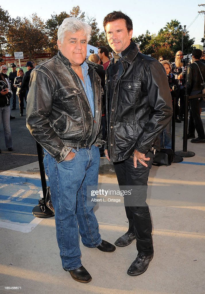 Talk show host Jay Leno and actor <a gi-track='captionPersonalityLinkClicked' href=/galleries/search?phrase=Lorenzo+Lamas&family=editorial&specificpeople=209164 ng-click='$event.stopPropagation()'>Lorenzo Lamas</a> participate in the 30th Anniversary Love Ride held at Glendale Harley-Davidson on October 20, 2013 in Glendale, California.