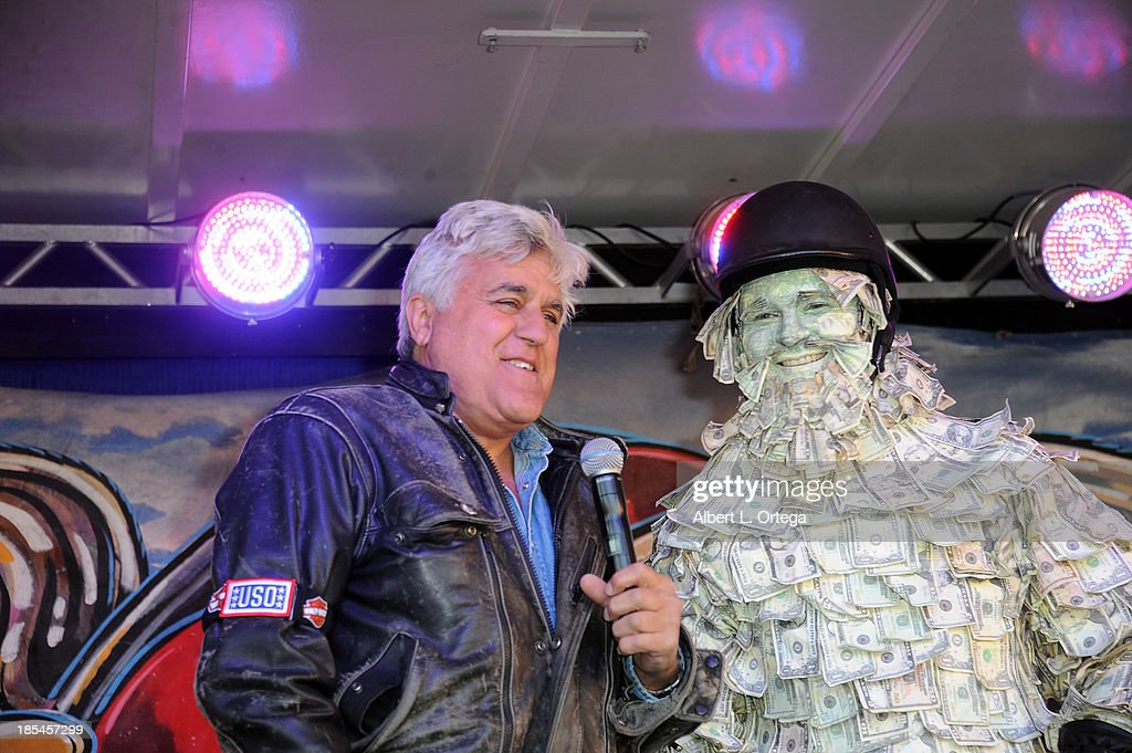 Talk show host Jay Leno and Geico spokesperson Bill and The Lizard participate in the 30th Anniversary Love Ride held at Glendale Harley-Davidson on October 20, 2013 in Glendale, California.