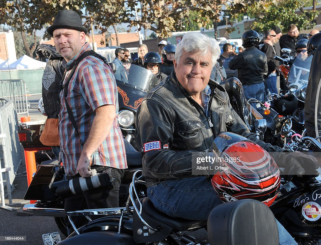 Talk Show host Jay Leno participates in the 30th Anniversary Love Ride held at Glendale Harley-Davidson on October 20, 2013 in Glendale, California.