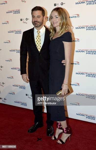 Talk show host Jimmy Kimmel and his wife Molly McNearney arrive for the 20th Annual Mark Twain Prize for American Humor honoring former talk show...