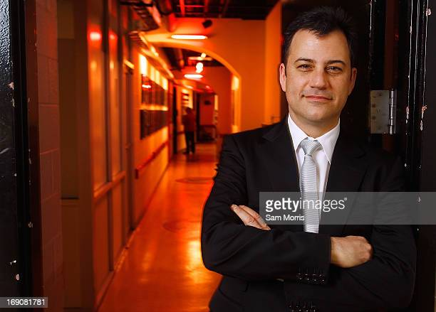 Talk show host Jimmy Kimmel poses backstage before receiving an honorary degree from UNLV during the university's 50th commencement ceremony at the...