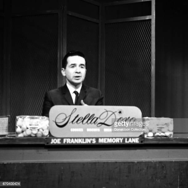 Talk show host Joe Franklin on the set of his show doing a segment called 'Joe Franklin's Memory Lane' on WABCTV on December 22 1961 in New York