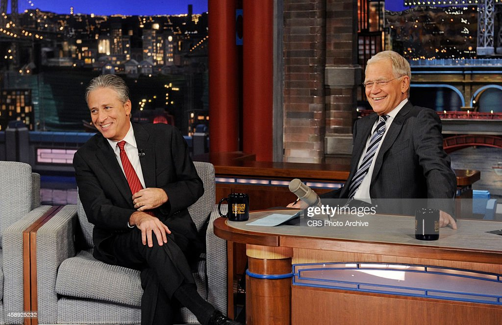 Talk show host/comedian <a gi-track='captionPersonalityLinkClicked' href=/galleries/search?phrase=Jon+Stewart&family=editorial&specificpeople=202151 ng-click='$event.stopPropagation()'>Jon Stewart</a> talks with Dave about his new film 'Rosewater' on the Late Show with <a gi-track='captionPersonalityLinkClicked' href=/galleries/search?phrase=David+Letterman+-+Pr%C3%A9sentateur+de+t%C3%A9l%C3%A9vision&family=editorial&specificpeople=171322 ng-click='$event.stopPropagation()'>David Letterman</a>, Thursday Nov. 13, 2014 on the CBS Television Network.