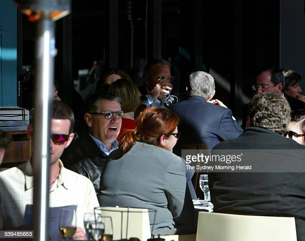 Talkback radio show host Ray Hadley lunches with friends at Otto restaurant at Woolloomooloo today after the latest ratings showed him ahead of rival...
