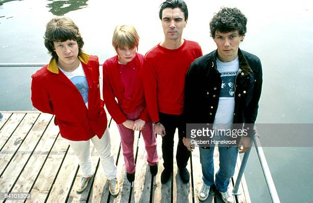 JUNE 01 Talking Heads posed in Amsterdam Netherlands in June 1977 LR Chris Frantz Tina Weymouth David Byrne Jerry Harrison