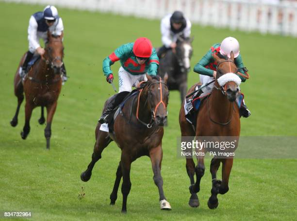 Talking Heads ridden by Jamie Spencer wins ahead of The Legal Blonde ridden by Richard Kingscote to win The Andrex Winkfield Stakes at Ascot...