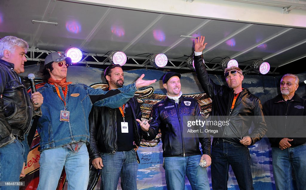 Talkshow host Jay Leno and actors Ron Moss, Paulo Benedeti, Jacob Young, Windsor Harmon participate in the 30th Anniversary Love Ride held at Glendale Harley-Davidson on October 20, 2013 in Glendale, California.