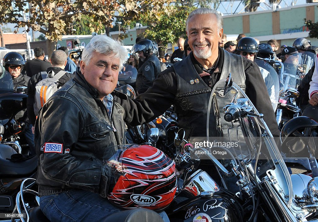 Talkshow host Jay Leno and owner Oliver Shokouh participate in the 30th Anniversary Love Ride held at Glendale Harley-Davidson on October 20, 2013 in Glendale, California.