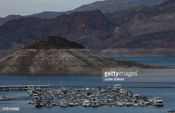 A tall bleached 'bathtub ring' is visible on the rocky banks of Lake Mead's Rock Island near the Lake Mead Marina on May 12 2015 in Lake Mead...