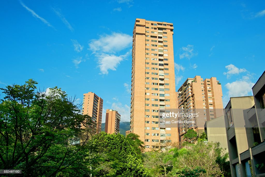 tall brick buildings in medellin colombia stock photo getty images. Black Bedroom Furniture Sets. Home Design Ideas