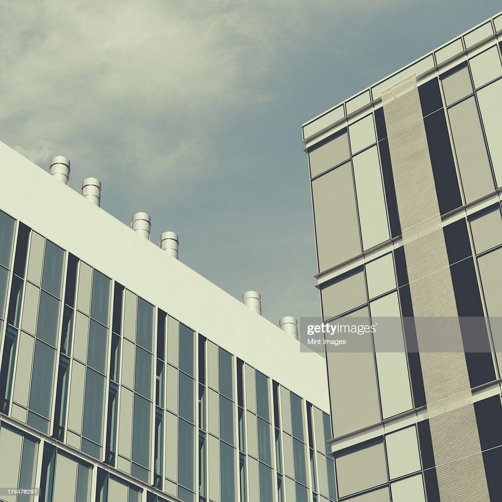 Tall modern buildings in the city of Seattle. Modern architectural style and building materials. : Stock Photo