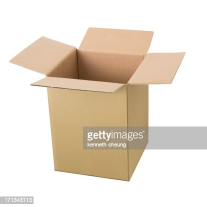 Tall Open Cardbox Box - Isolated
