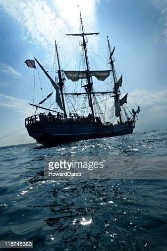 Tall ship anchored off Cornwall Coast