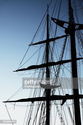 Tall ship masts silhouette
