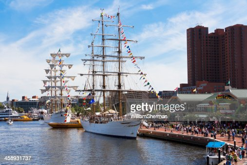 Tall Ships Docked at Baltimore's Inner Harbor
