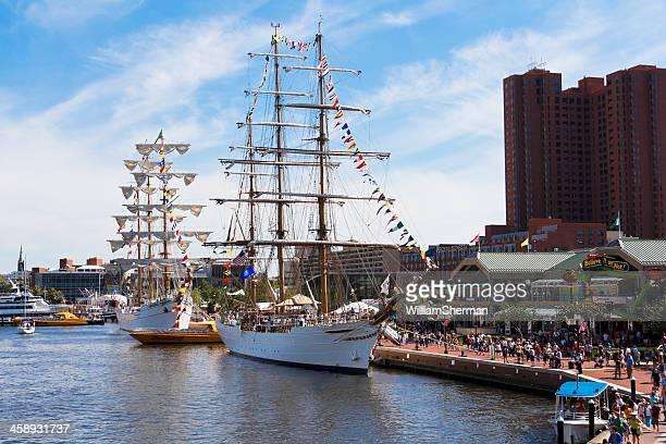 Tall Ships Docked at Baltimore's Inner Harbor