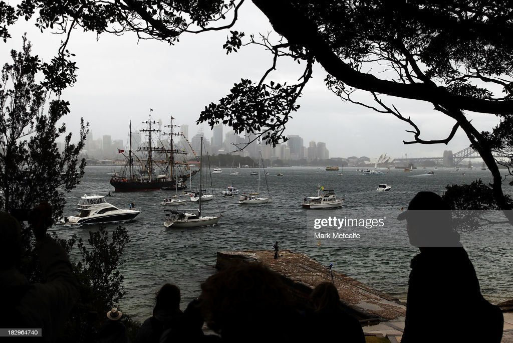 Tall Ships enter Sydney Harbour on October 3, 2013 in Sydney, Australia. Over 50 ships will participate in the International Fleet Review at Sydney Harbour to commemorate the 100 year anniversary of the Royal Australian Navy's fleet arriving into Sydney. Prince Harry will take part in the fleet review during his two-day visit to Australia.