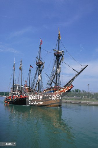 Tall ships in canal