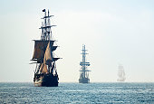 Tall Ships in the Last Mists of Morning Fog