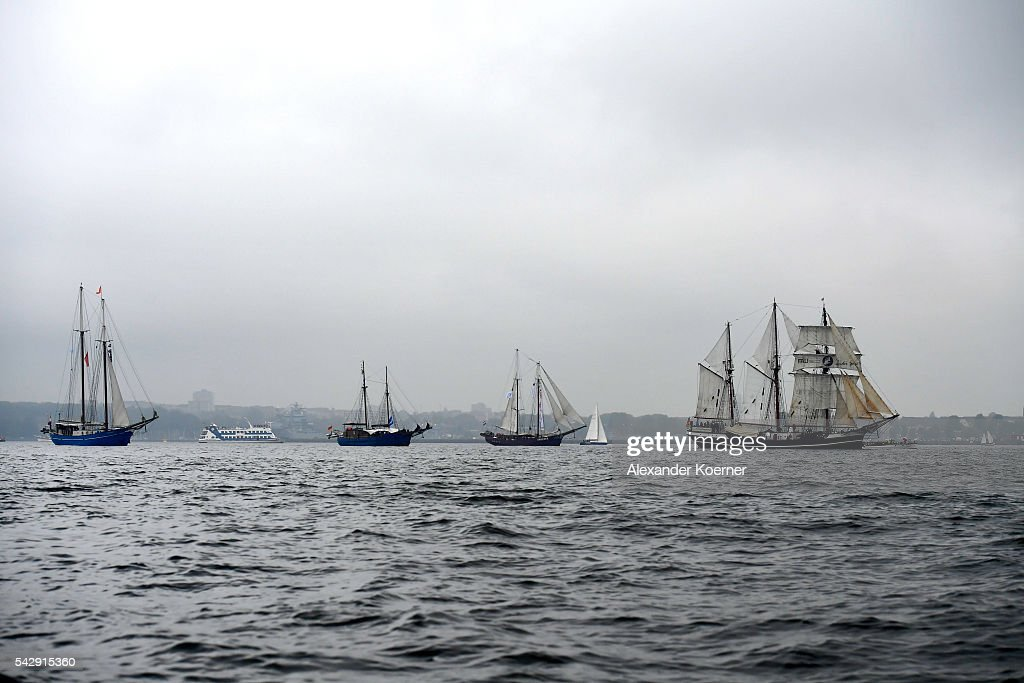 Tall ships, including the 'Thor Heyerdahl' (r), sail out of the Bay of Kiel during the annual Windjammer parade on June 25, 2016 in Kiel, Germany. The annual Tall Ships Parade, in which many of the world's largest traditional sailing ships participate, is the highlight of the Kieler Woche (Kiel Week), the world's biggest regatta and sailing event.