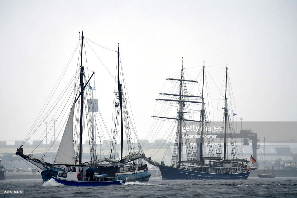 Tall ships sail out of the Bay of Kiel during the annual Windjammer parade on June 25, 2016 in Kiel, Germany. The annual Tall Ships Parade, in which many of the world's largest traditional sailing ships participate, is the highlight of the Kieler Woche (Kiel Week), the world's biggest regatta and sailing event.