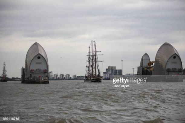 'Tall Ships' sail past the Thames Barrier ahead of the 'Parade of Sails' on the last day of the Royal Greenwich Tall Ships Festival on April 16 2017...