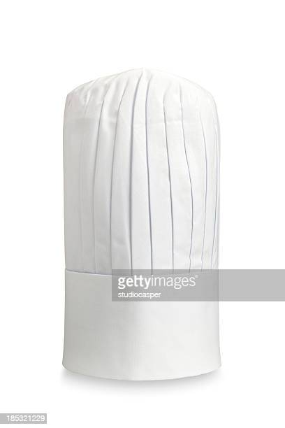 Tall white chef's hat isolated on white