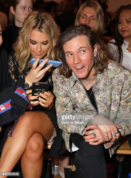 Tallia Storm and Dougie Poynter attend the PPQ show during the London Fashion Week February 2017 collections at the BFC Show Space on February 17...