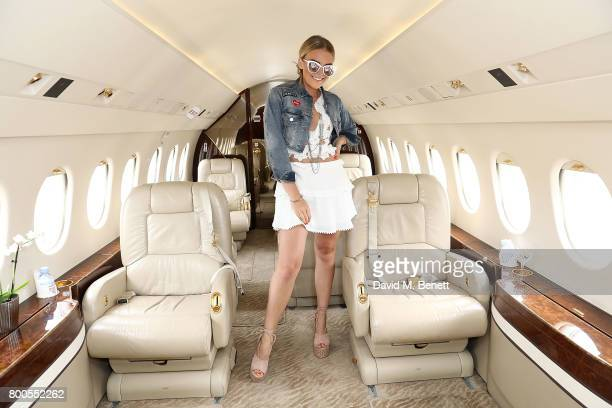 Tallia Storm arrives via private jet Falcon 2000 at Gama Aviation ahead of the Jersey Style Awards 2017 in association with Chopard on June 24 2017...