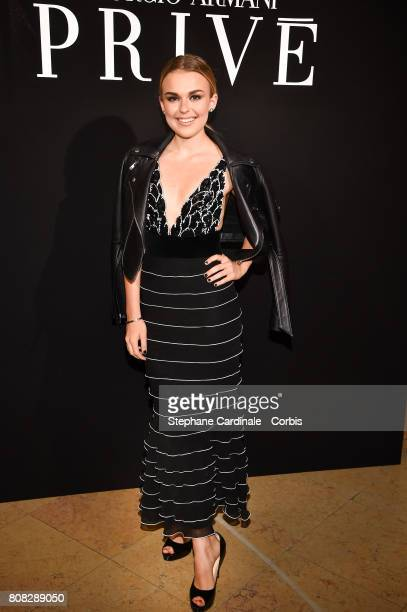 Tallia Storm attends the Giorgio Armani Prive Haute Couture Fall/Winter 20172018 show as part of Haute Couture Paris Fashion Week on July 4 2017 in...