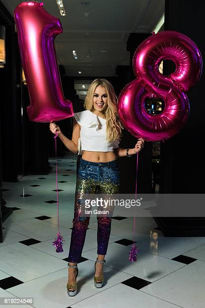 Tallia Storm poses for a photograph whilst celebrating her 18th Birthday at the Rosewood Hotel on October 30 2016 in London England