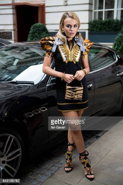 Tallia Storm poses in a DSquared dress at The Rosewood Hotel on February 20 2017 in London England