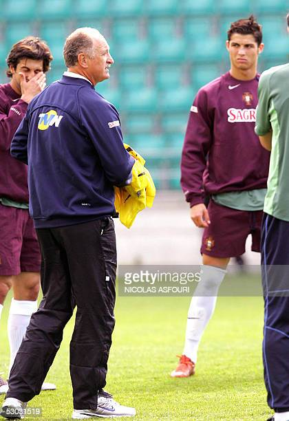 Portugal's Cristiano Ronaldo and Portugal's national soccer coach Felipe Scolari during a training session ahead of the World Cup 2006 qualifier...
