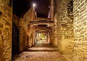 Lane of St. Catharine in the night illumination. Tallinn. Estonia
