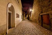 Old stone medieval street in the historic part of the city. Tallinn. Estonia.