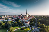 View over Old Town of Tallinn. Estonia. Drone shot.