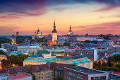 Image of Old Town Tallinn in Estonia during sunset.