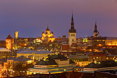Aerial view of the old town and Toompea hill at night. Tallinn. Estonia.