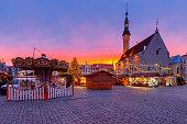 Town Hall Square in the Christmas illumination at dawn. Tallinn. Estonia.