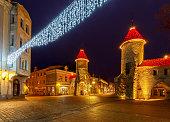 Night view of the Viru Gate and Viru street in the Christmas light. Tallinn. Estonia.