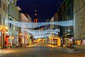 Old street Viru in the night Christmas illumination. Tallinn. Estonia.