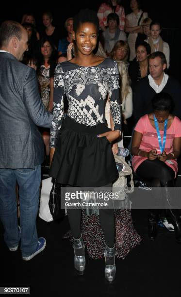 Tallulah Adeyemi attends the Osman Fashion show at the BFC tent Somerset House on September 19 2009 in London England
