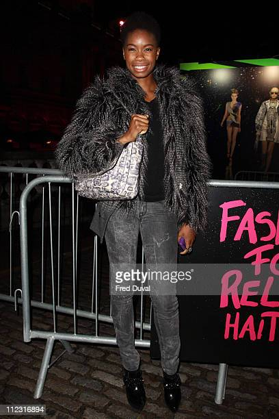 Tallulah Adeyemi seen leaving the Fashion for Relief show for London Fashion Week Autumn/Winter 2010 at Somerset House on February 18 2010 in London...